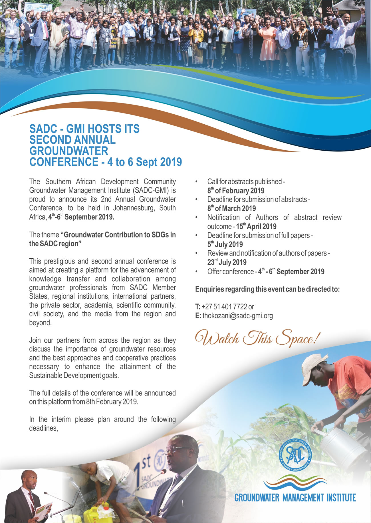 SADC-GMI Hosts its second annual Groundwater Conference 4 to 6 Sept 2019 1