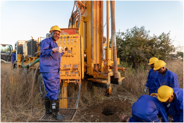 Drilling was in progress at the project site when the project team visited
