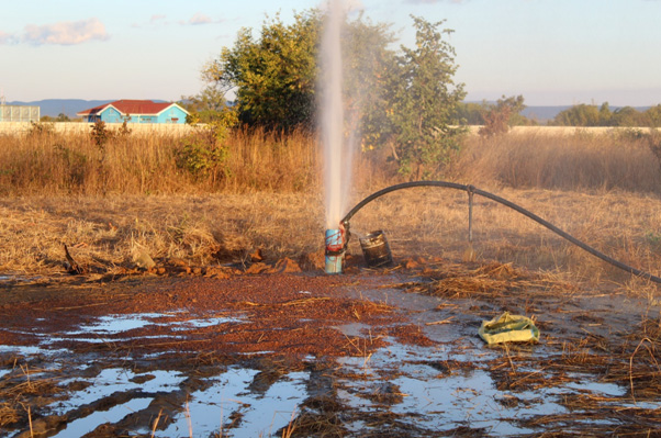 The picture depicts the project site in Chongwe District- drilling has reached the water level