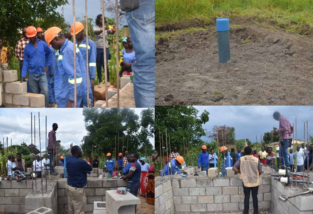 Pictures above: showing the Borehole and the construction of the Water Treatment system