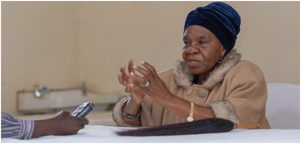 Her Royal Highness Senior Chieftainess Nkhomeshya Mukamambo II- explaining the water challenges faced by Chongwe community