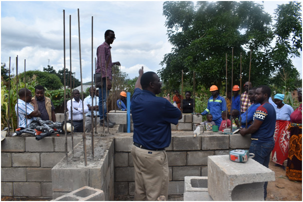 The construction of the Water treatment structure in Chimbiya
