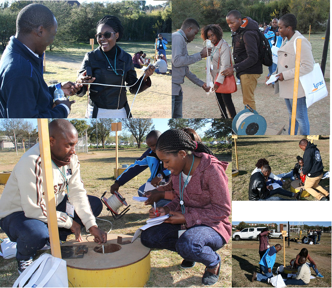 Young Professionals at the IGS Experimental site – conducting water measurement during one of the YPs workshop held at the University of the Free State, Bloemfontein, South Africa