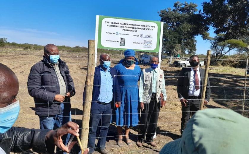 Commissioning of the Tsetsebjwe Water Provision Project for Horticulture purposes (L to R): Hon. Taolo Lucas, Member of Parliament for Bobonong Constituency; Mr Detto Molatlhegi, Assistant Council Secretary; Ms Thato B Morule, KCS CEO; Mr David Manaka, Chair-Tsetsebjwe SADC GMI Project Committee and Mr Kgomotso Mmeriki Councillor-Bobonong as the Acting Bobirwa Sub-District Council Secretary.