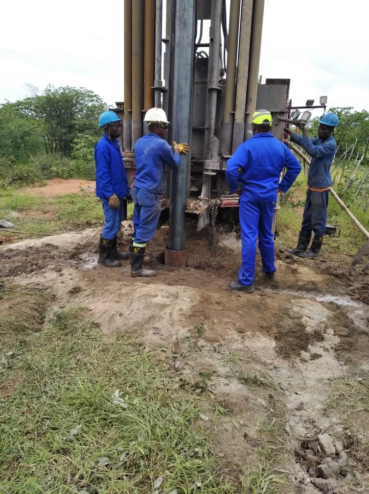 Figure 6: A new borehole was drilled, seen in the picture is the drilling process which was executed and successfully completed.